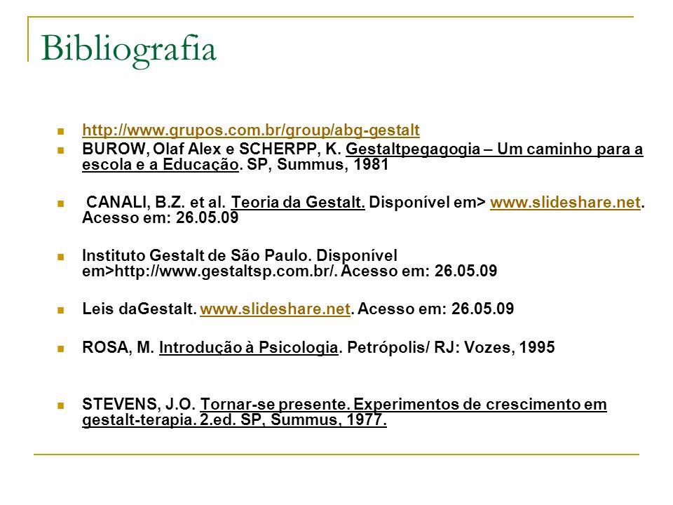 Bibliografia http://www.grupos.com.br/group/abg-gestalt BUROW, Olaf Alex e SCHERPP, K. Gestaltpegagogia – Um caminho para a escola e a Educação. SP, S
