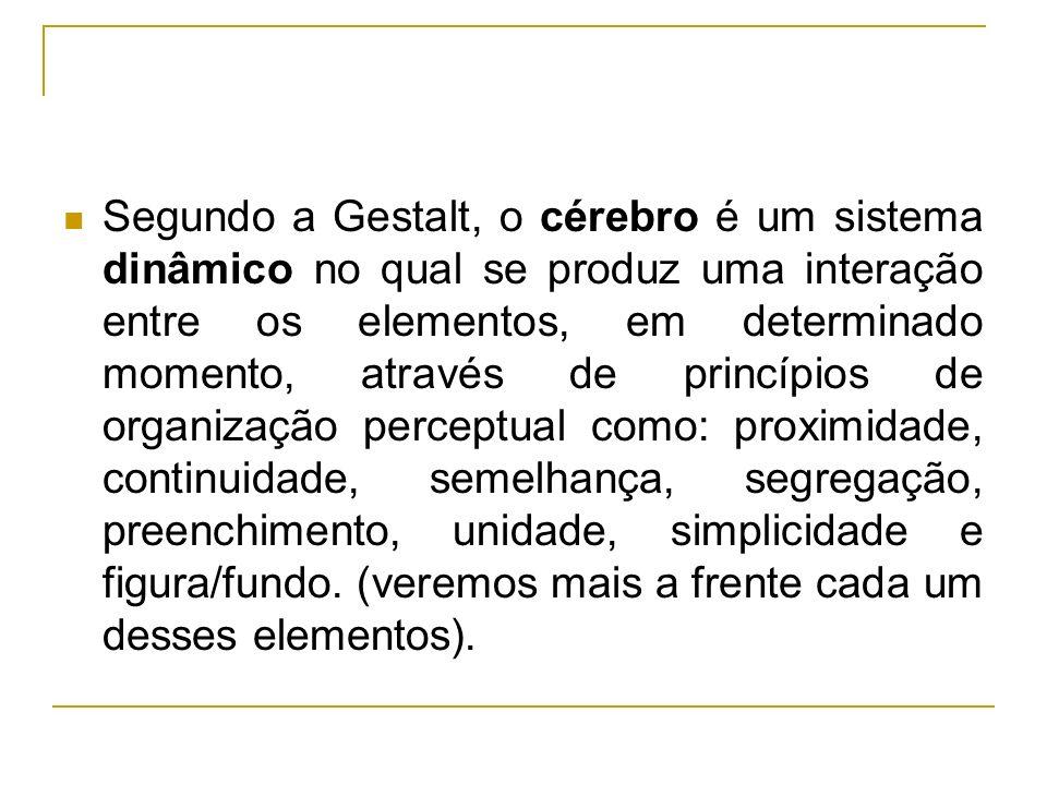 Segundo a Gestalt, o cérebro é um sistema dinâmico no qual se produz uma interação entre os elementos, em determinado momento, através de princípios d