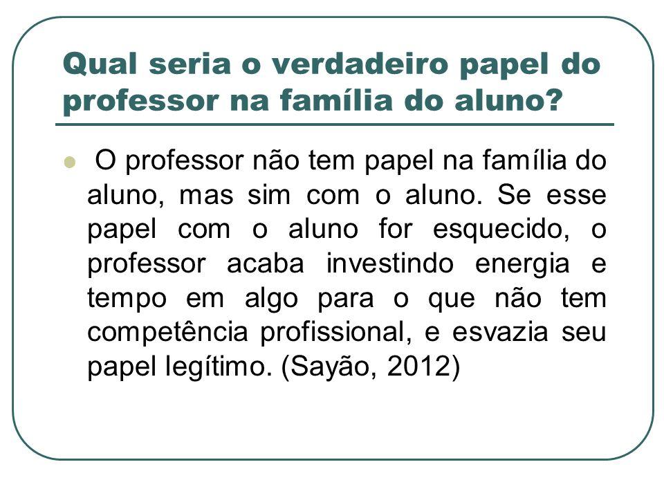 Qual seria o verdadeiro papel do professor na família do aluno? O professor não tem papel na família do aluno, mas sim com o aluno. Se esse papel com