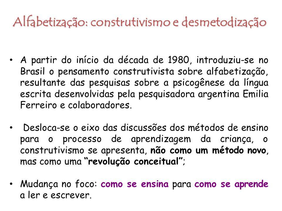 Alfabetização: construtivismo e desmetodização A partir do início da década de 1980, introduziu-se no Brasil o pensamento construtivista sobre alfabet