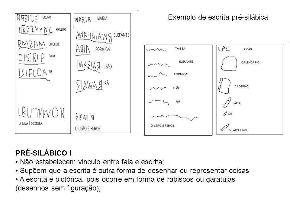 Exemplo de escrita pré-silábica PRÉ-SILÁBICO I Não estabelecem vinculo entre fala e escrita; Supõem que a escrita é outra forma de desenhar ou represe