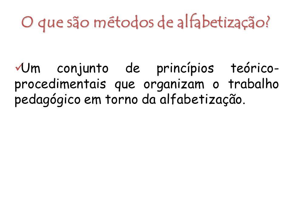 O que são métodos de alfabetização? Um conjunto de princípios teórico- procedimentais que organizam o trabalho pedagógico em torno da alfabetização.