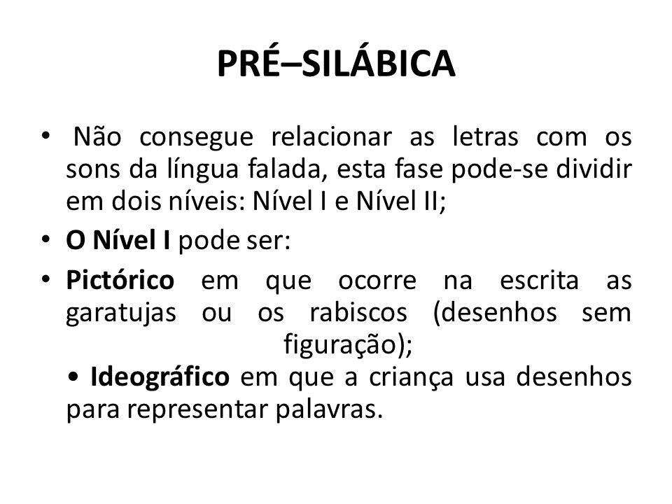 PRÉ–SILÁBICA Não consegue relacionar as letras com os sons da língua falada, esta fase pode-se dividir em dois níveis: Nível I e Nível II; O Nível I p