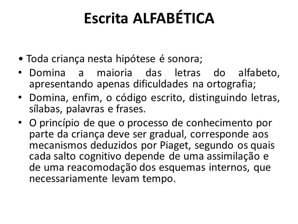 Escrita ALFABÉTICA Toda criança nesta hipótese é sonora; Domina a maioria das letras do alfabeto, apresentando apenas dificuldades na ortografia; Domi