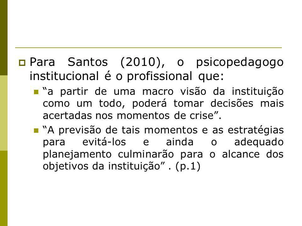 Para Santos (2010), o psicopedagogo institucional é o profissional que: a partir de uma macro visão da instituição como um todo, poderá tomar decisões