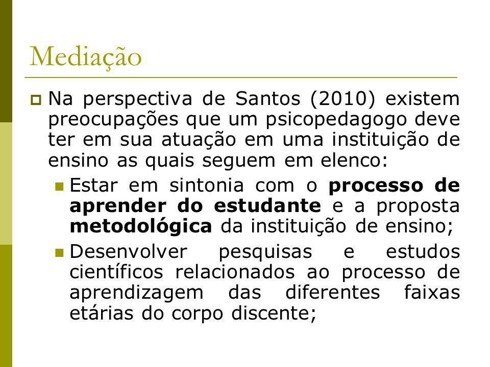 Mediação Na perspectiva de Santos (2010) existem preocupações que um psicopedagogo deve ter em sua atuação em uma instituição de ensino as quais segue