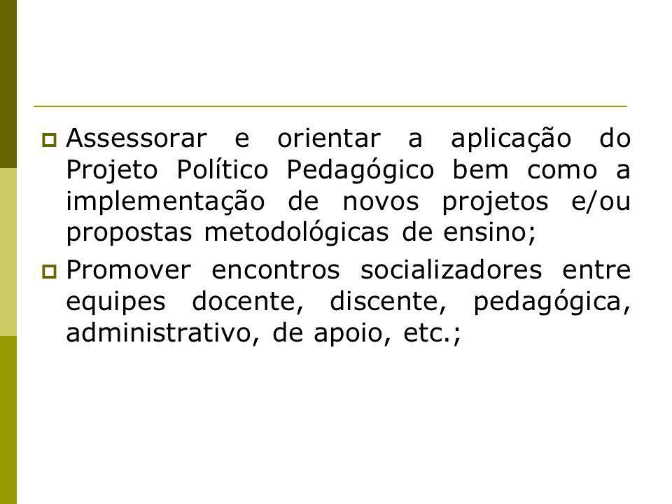 Assessorar e orientar a aplicação do Projeto Político Pedagógico bem como a implementação de novos projetos e/ou propostas metodológicas de ensino; Pr