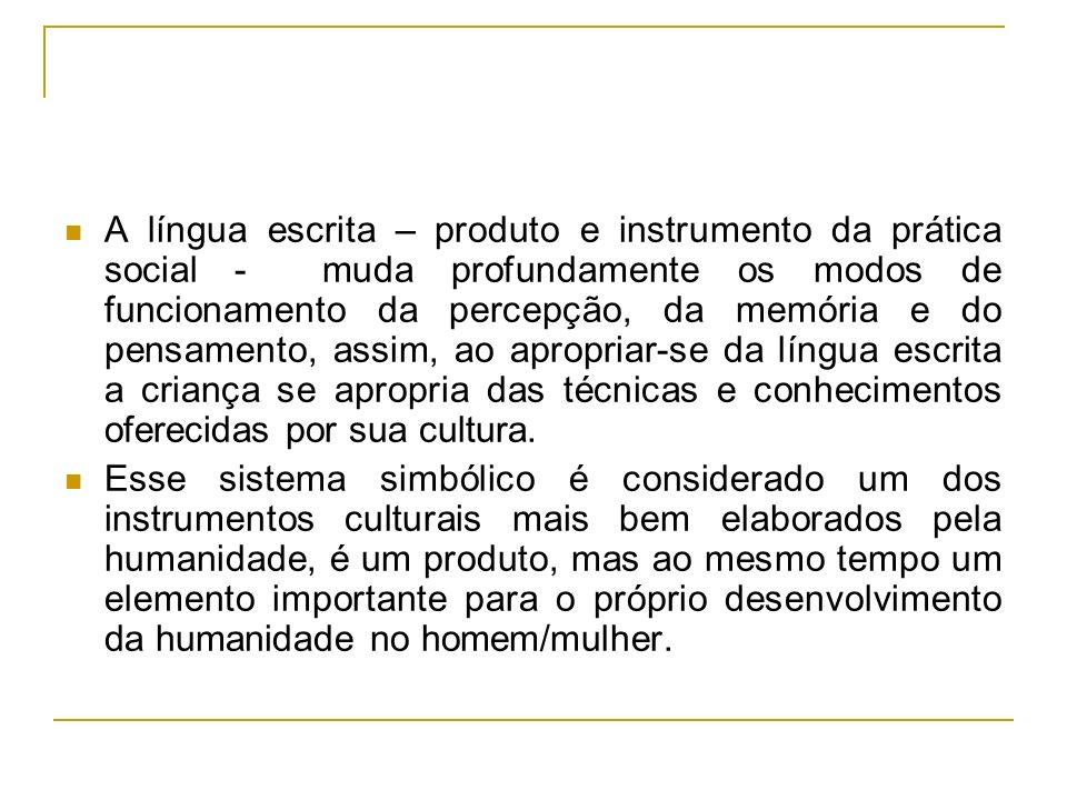 A língua escrita – produto e instrumento da prática social - muda profundamente os modos de funcionamento da percepção, da memória e do pensamento, as