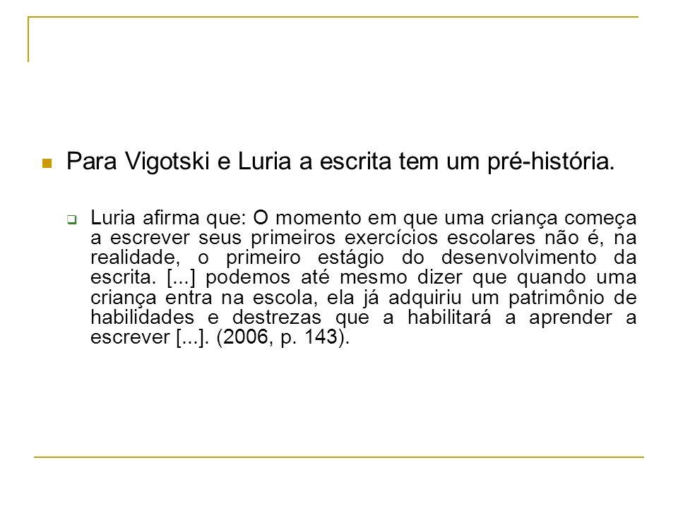 Para Vigotski e Luria a escrita tem um pré-história. Luria afirma que: O momento em que uma criança começa a escrever seus primeiros exercícios escola