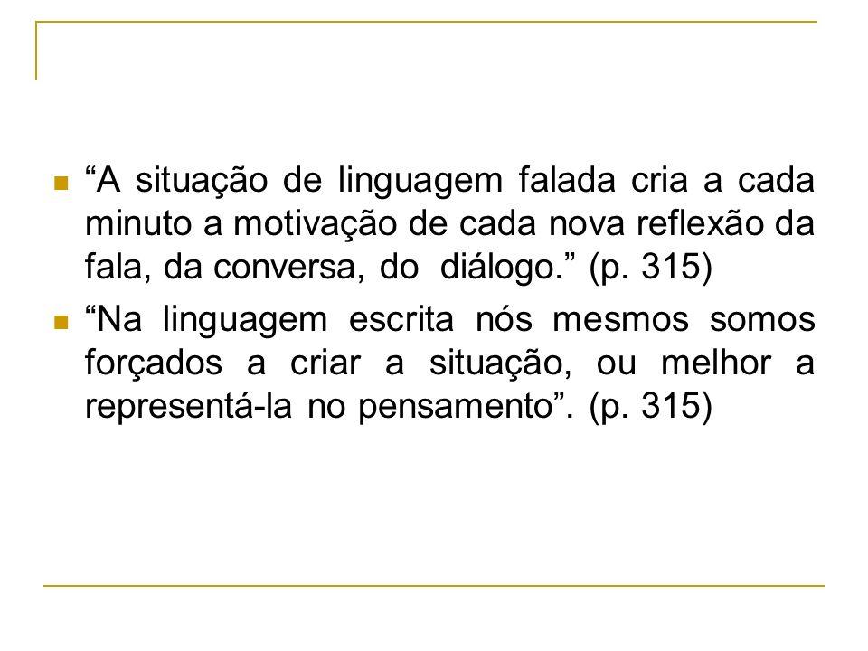 A situação de linguagem falada cria a cada minuto a motivação de cada nova reflexão da fala, da conversa, do diálogo. (p. 315) Na linguagem escrita nó