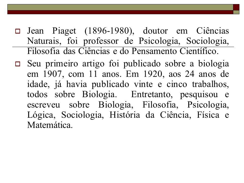 Jean Piaget (1896-1980), doutor em Ciências Naturais, foi professor de Psicologia, Sociologia, Filosofia das Ciências e do Pensamento Científico. Seu