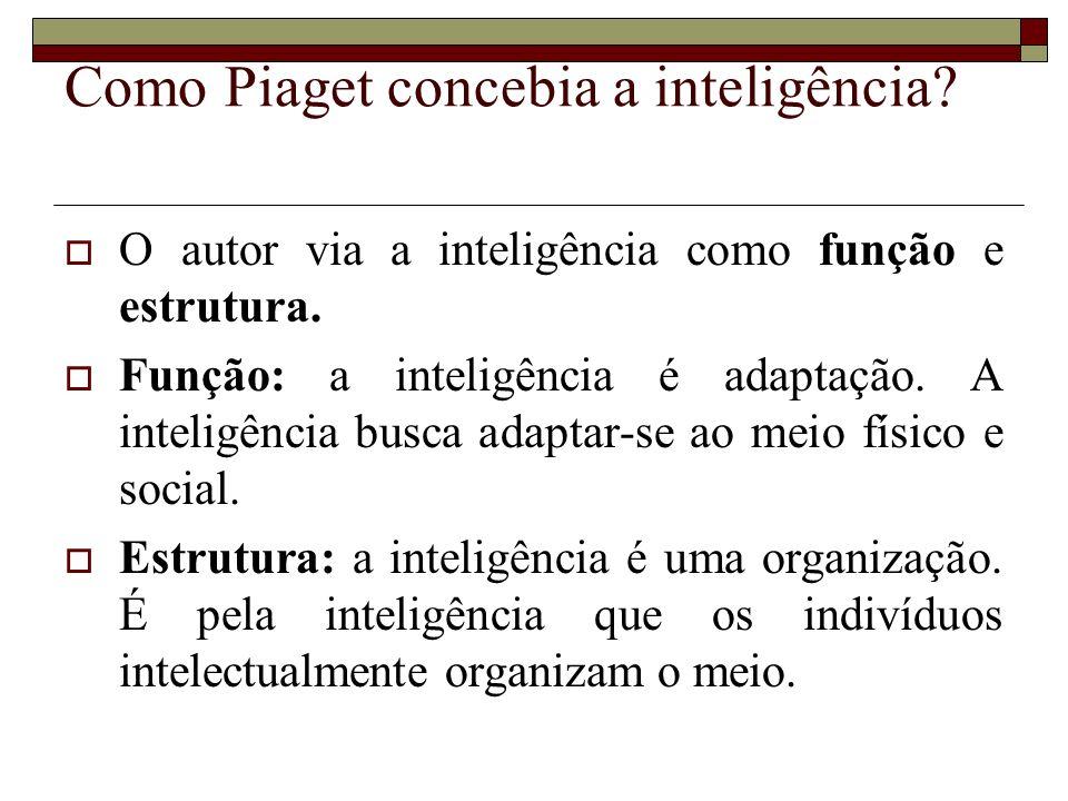 Como Piaget concebia a inteligência? O autor via a inteligência como função e estrutura. Função: a inteligência é adaptação. A inteligência busca adap