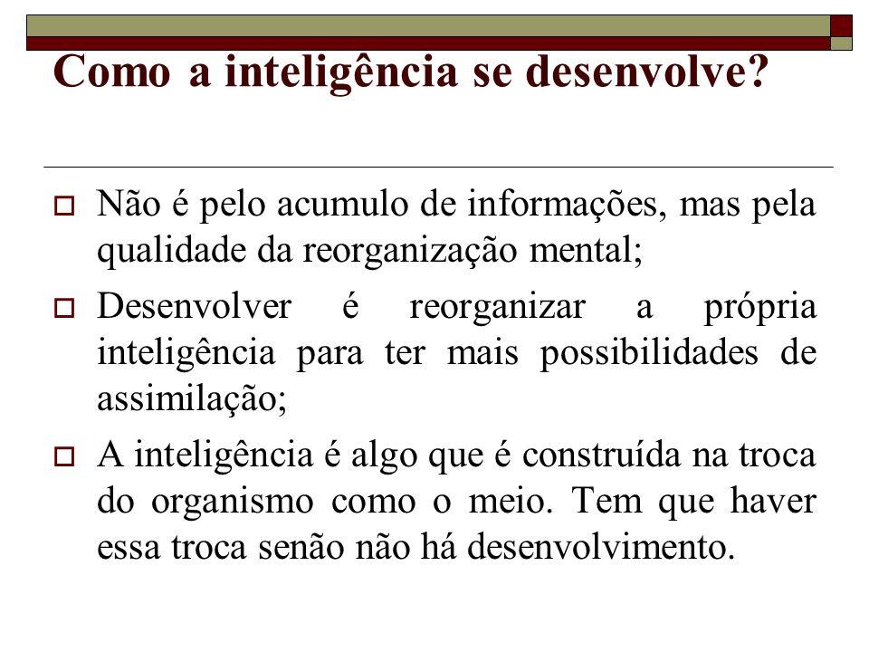 Como a inteligência se desenvolve? Não é pelo acumulo de informações, mas pela qualidade da reorganização mental; Desenvolver é reorganizar a própria