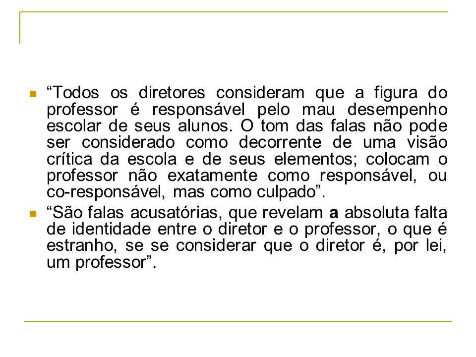 Todos os diretores consideram que a figura do professor é responsável pelo mau desempenho escolar de seus alunos.