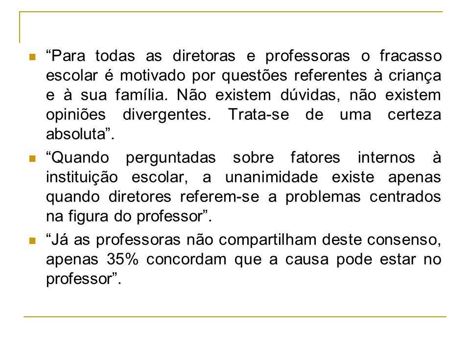 Para os diretores, os professores são incompetentes, desinteressados, mal formados etc...