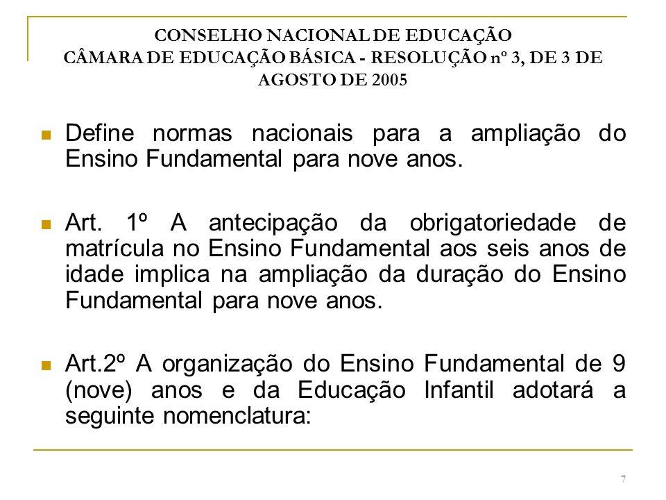 8 Etapa de ensino 1º Educação Infantil Creche - até 3 anos de idade - Faixa etária Pré-escola - 4 e 5 anos de idade - Faixa etária 2º Ensino Fundamental de nove anos- até 14 anos de idade Anos iniciais - Faixa etária de 6 a 10 anos de idade - duração 5 anos Anos finais - Faixa etária de 11 a 14 anos de idade - duração 4 anos