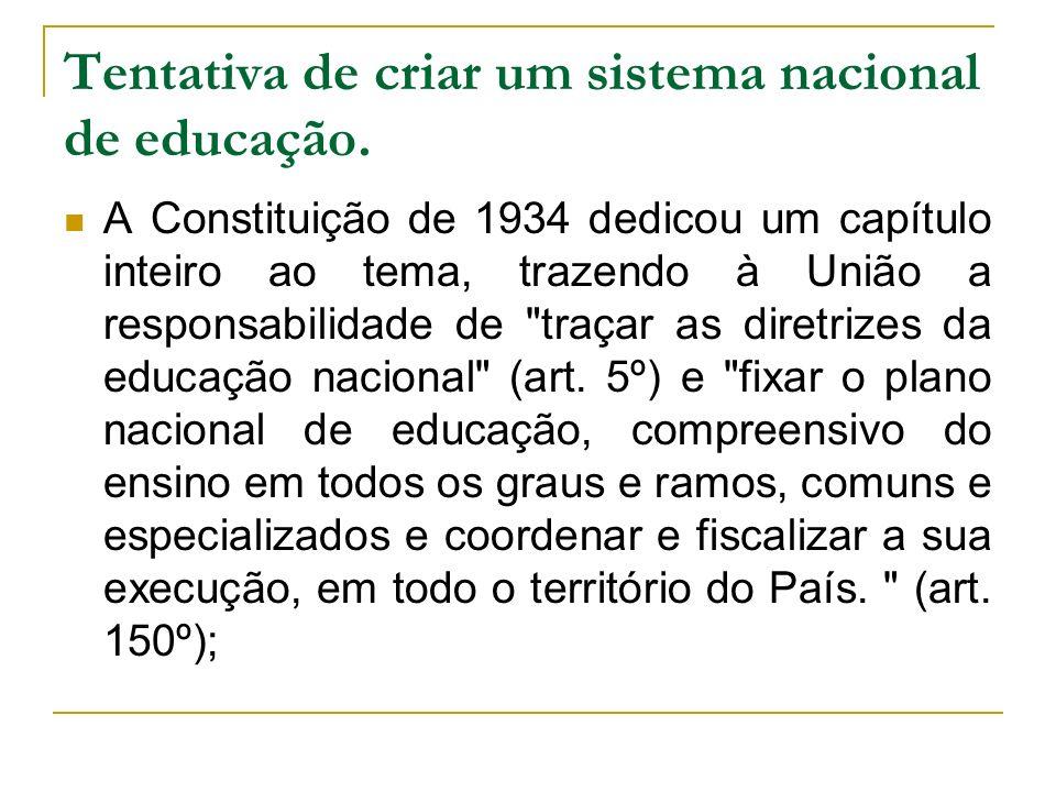 Tentativa de criar um sistema nacional de educação. A Constituição de 1934 dedicou um capítulo inteiro ao tema, trazendo à União a responsabilidade de