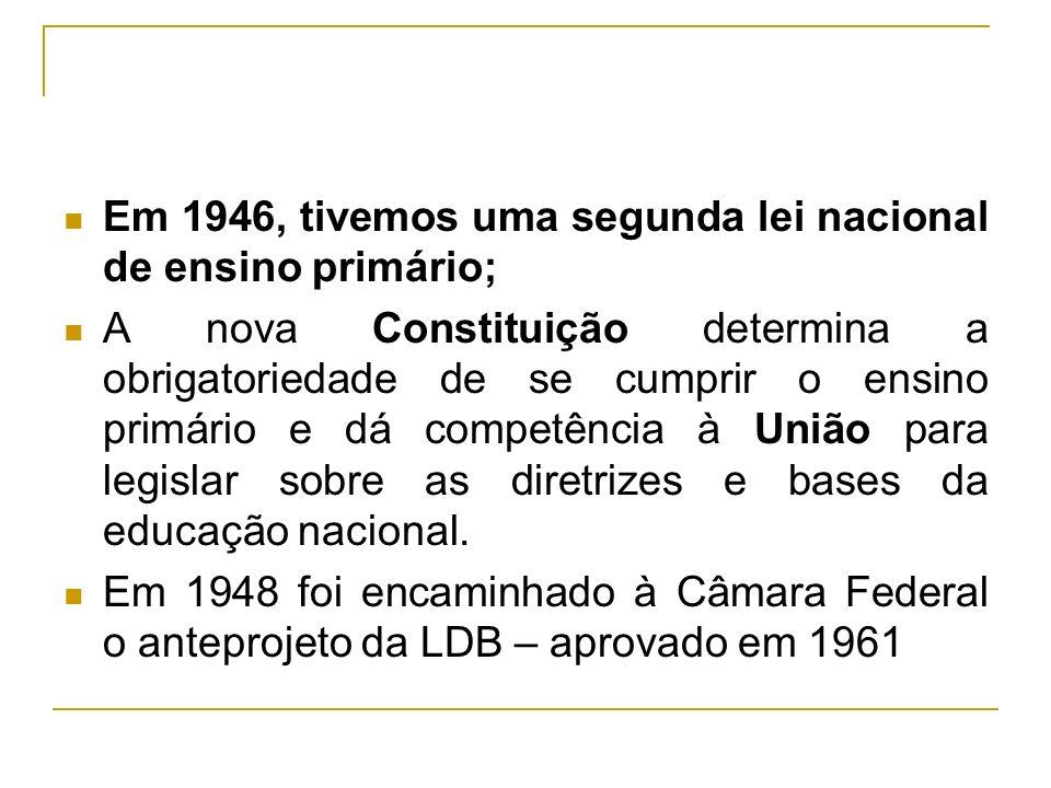 Em 1946, tivemos uma segunda lei nacional de ensino primário; A nova Constituição determina a obrigatoriedade de se cumprir o ensino primário e dá com