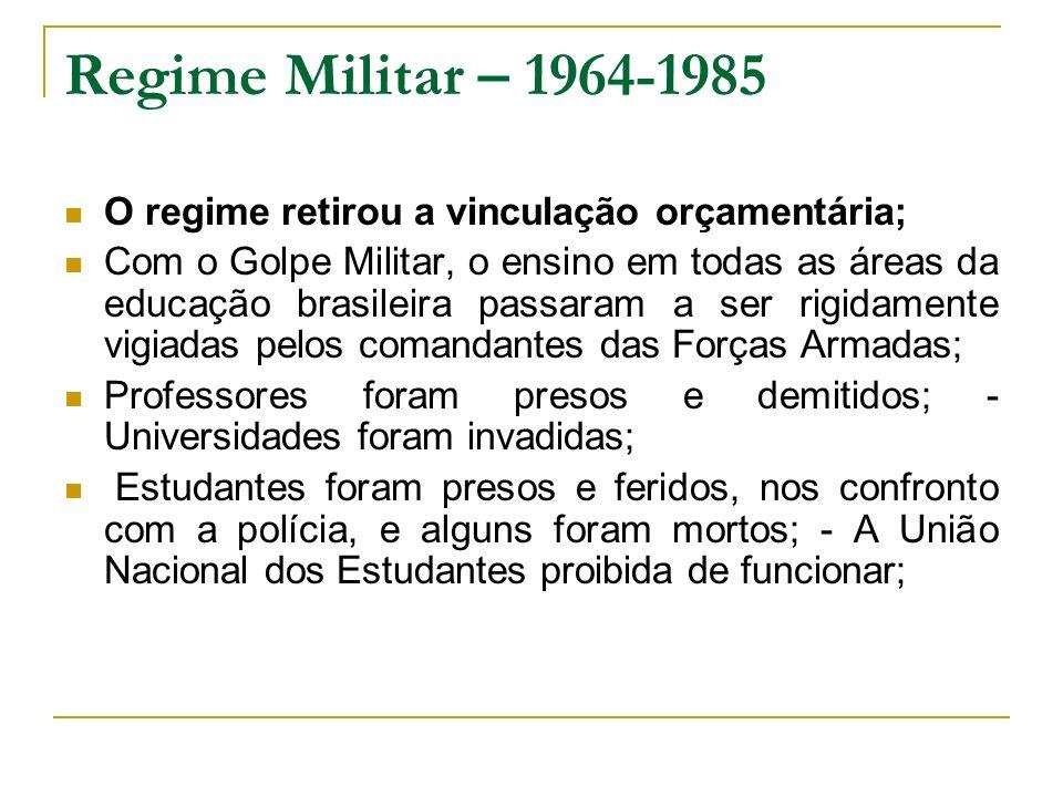 Regime Militar – 1964-1985 O regime retirou a vinculação orçamentária; Com o Golpe Militar, o ensino em todas as áreas da educação brasileira passaram