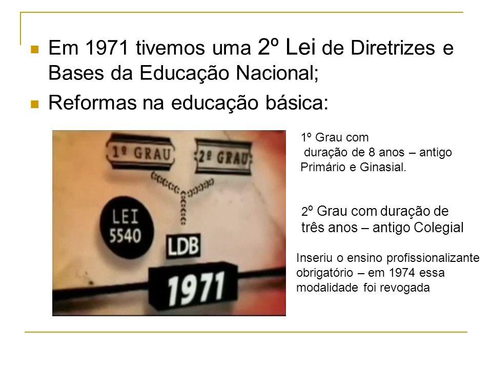 Em 1971 tivemos uma 2º Lei de Diretrizes e Bases da Educação Nacional; Reformas na educação básica: 1º Grau com duração de 8 anos – antigo Primário e