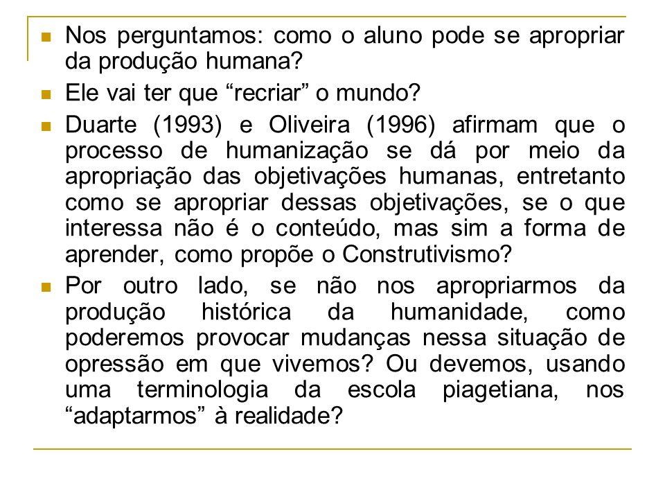 Nos perguntamos: como o aluno pode se apropriar da produção humana? Ele vai ter que recriar o mundo? Duarte (1993) e Oliveira (1996) afirmam que o pro