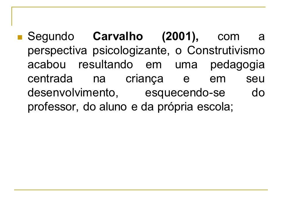 Segundo Carvalho (2001), com a perspectiva psicologizante, o Construtivismo acabou resultando em uma pedagogia centrada na criança e em seu desenvolvi