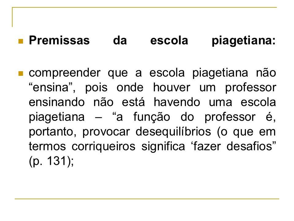 Premissas da escola piagetiana: compreender que a escola piagetiana não ensina, pois onde houver um professor ensinando não está havendo uma escola pi
