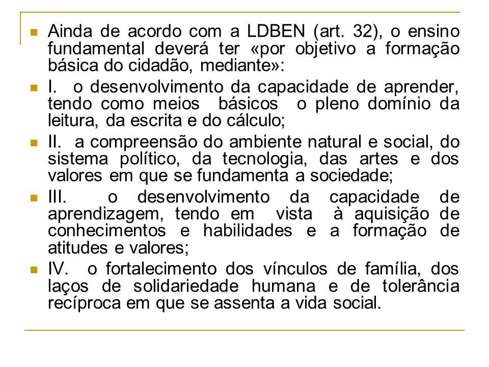 Ainda de acordo com a LDBEN (art. 32), o ensino fundamental deverá ter «por objetivo a formação básica do cidadão, mediante»: I. o desenvolvimento da