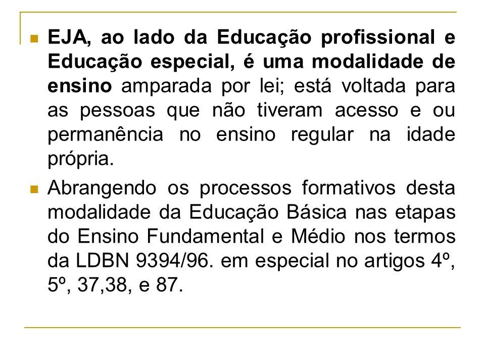EJA, ao lado da Educação profissional e Educação especial, é uma modalidade de ensino amparada por lei; está voltada para as pessoas que não tiveram a