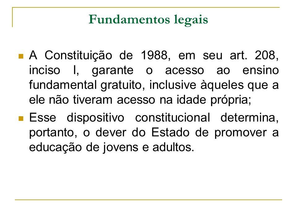 Fundamentos legais A Constituição de 1988, em seu art. 208, inciso I, garante o acesso ao ensino fundamental gratuito, inclusive àqueles que a ele não