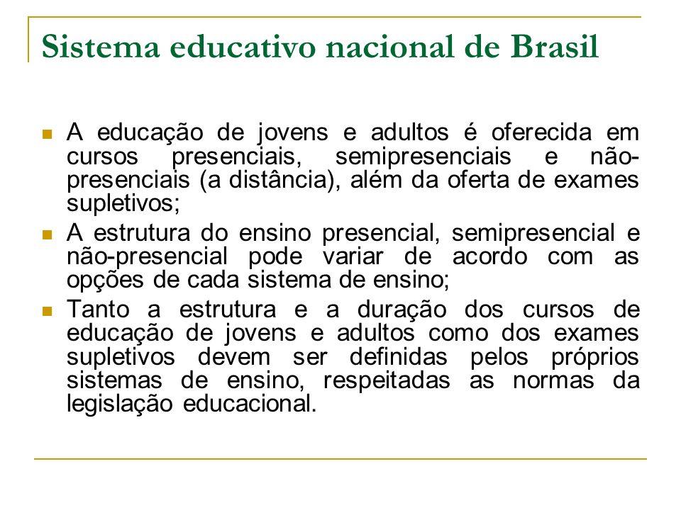 Sistema educativo nacional de Brasil A educação de jovens e adultos é oferecida em cursos presenciais, semipresenciais e não- presenciais (a distância