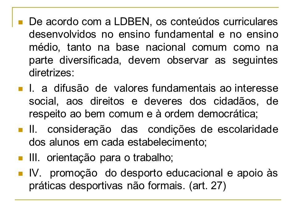 De acordo com a LDBEN, os conteúdos curriculares desenvolvidos no ensino fundamental e no ensino médio, tanto na base nacional comum como na parte div