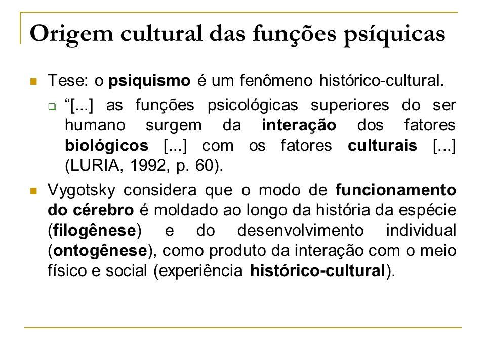 Origem cultural das funções psíquicas Tese: o psiquismo é um fenômeno histórico-cultural. [...] as funções psicológicas superiores do ser humano surge