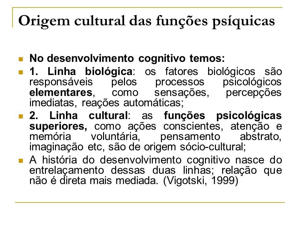 Origem cultural das funções psíquicas No desenvolvimento cognitivo temos: 1. Linha biológica: os fatores biológicos são responsáveis pelos processos p