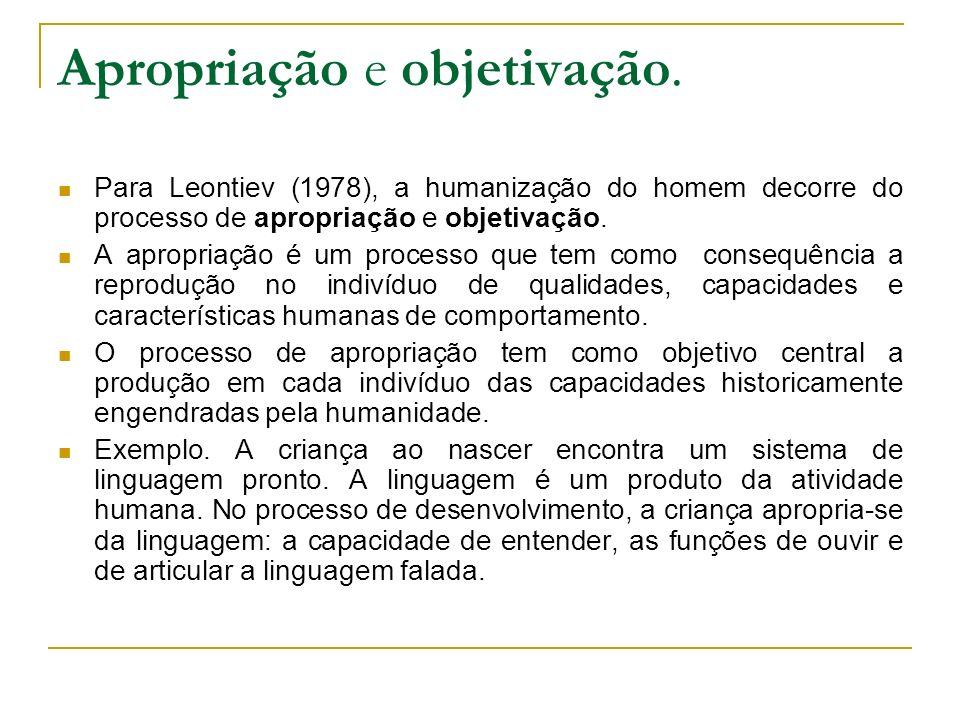 Apropriação e objetivação. Para Leontiev (1978), a humanização do homem decorre do processo de apropriação e objetivação. A apropriação é um processo