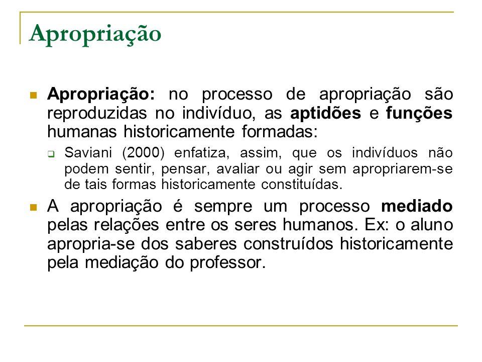 Apropriação: no processo de apropriação são reproduzidas no indivíduo, as aptidões e funções humanas historicamente formadas: Saviani (2000) enfatiza,