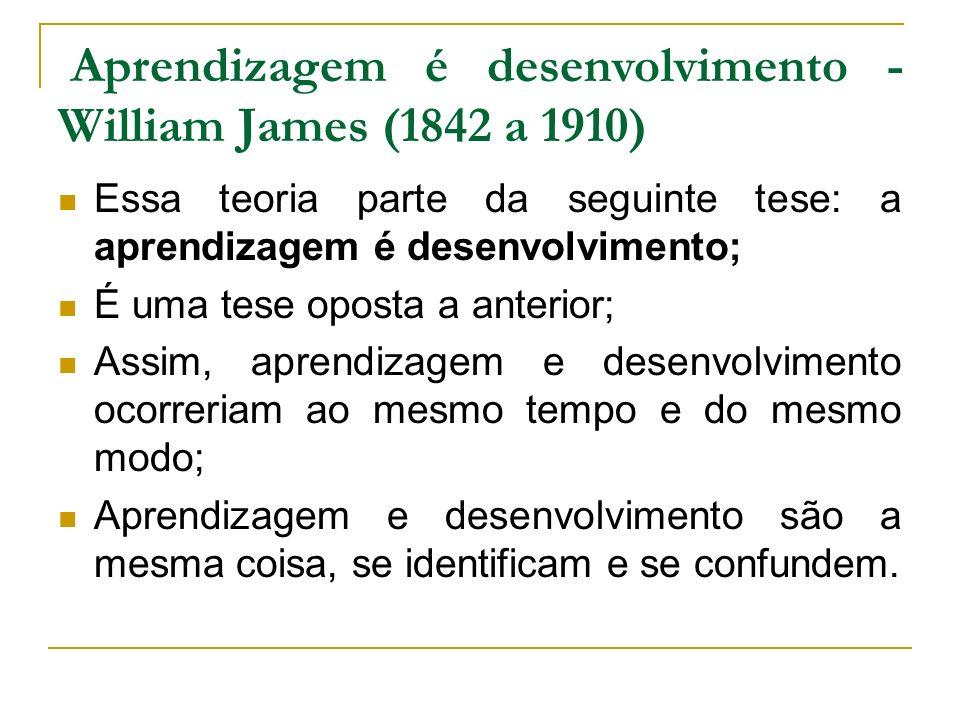 Aprendizagem é desenvolvimento - William James (1842 a 1910) Essa teoria parte da seguinte tese: a aprendizagem é desenvolvimento; É uma tese oposta a