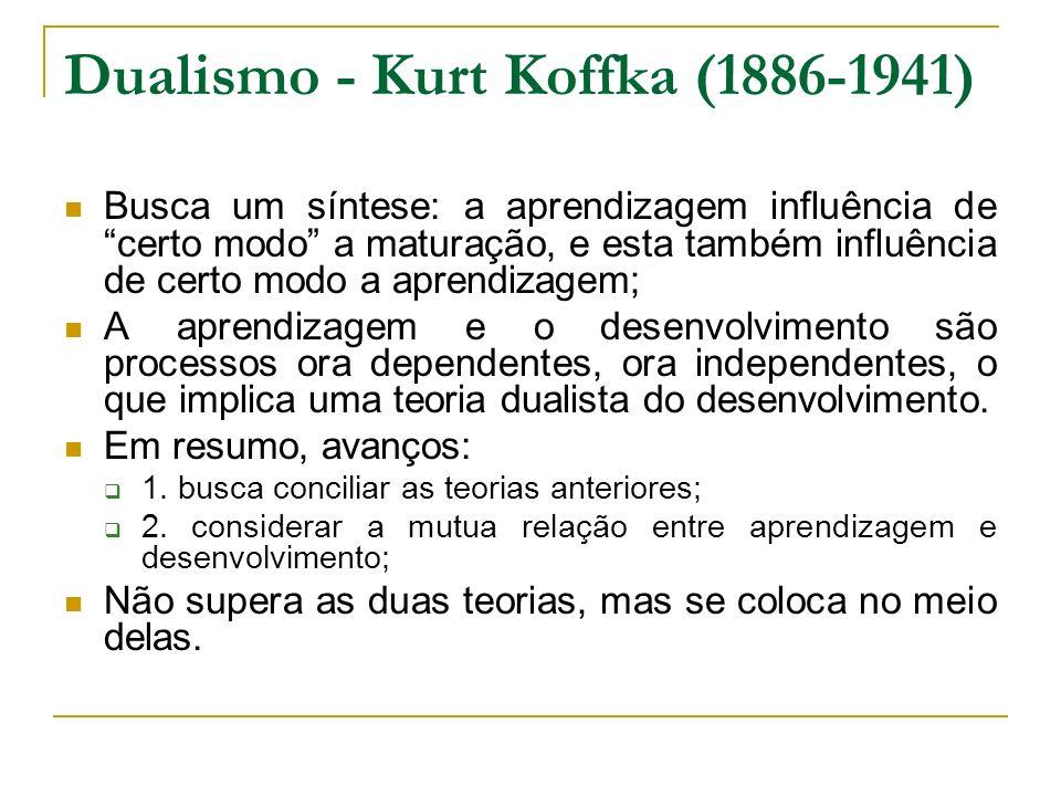 Dualismo - Kurt Koffka (1886-1941) Busca um síntese: a aprendizagem influência de certo modo a maturação, e esta também influência de certo modo a apr