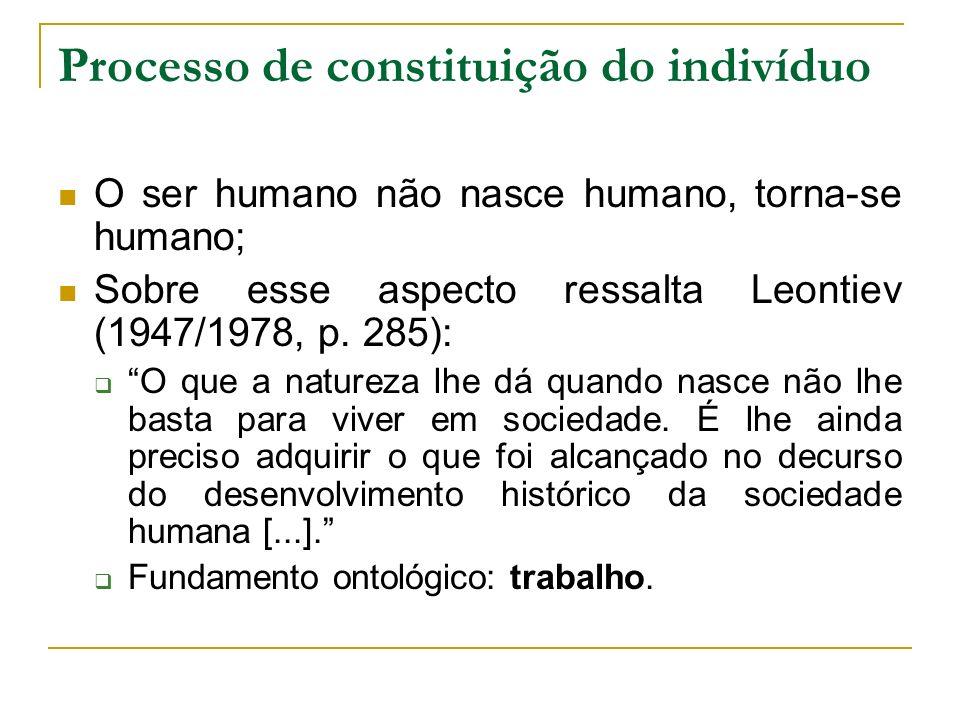 Processo de constituição do indivíduo O ser humano não nasce humano, torna-se humano; Sobre esse aspecto ressalta Leontiev (1947/1978, p. 285): O que