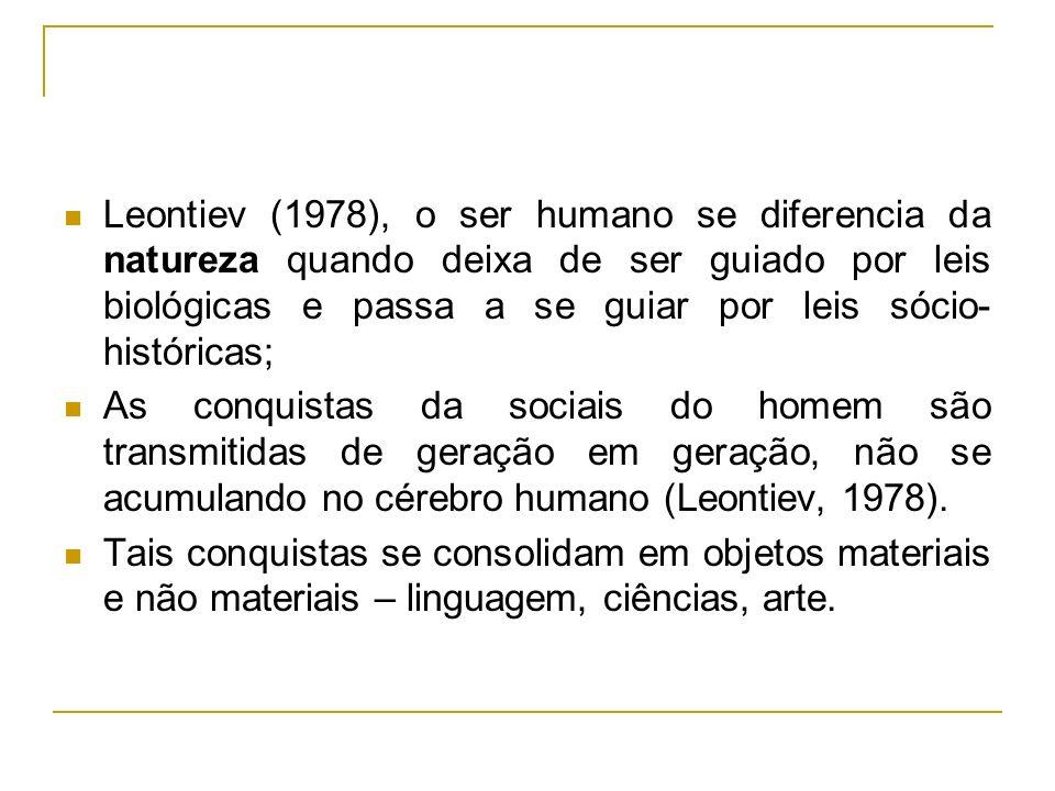 Leontiev (1978), o ser humano se diferencia da natureza quando deixa de ser guiado por leis biológicas e passa a se guiar por leis sócio- históricas;
