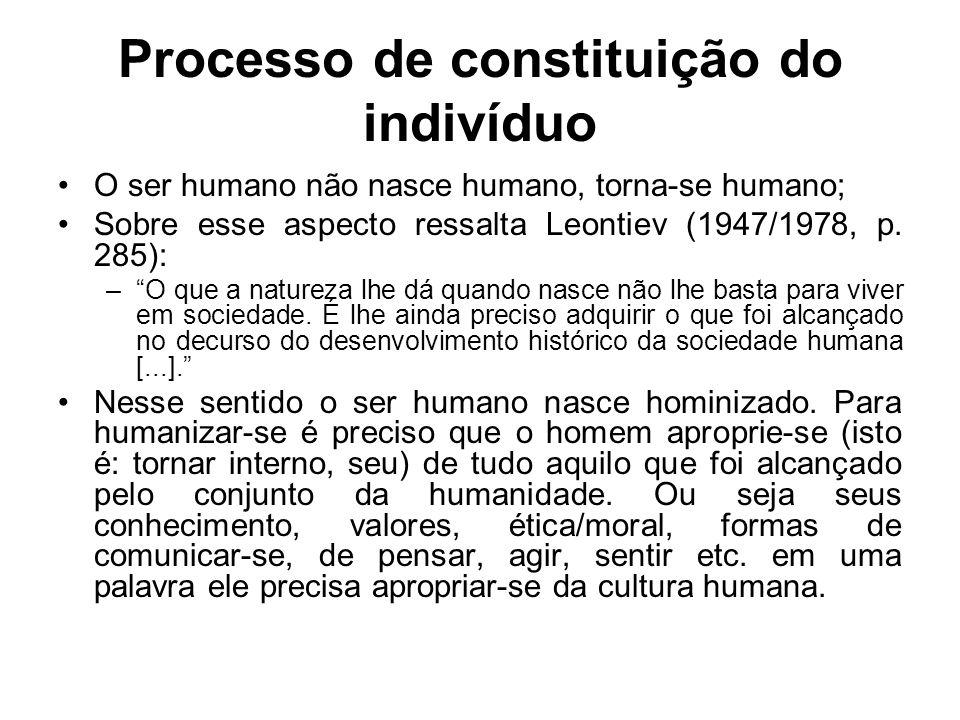 Processo de constituição do indivíduo O ser humano não nasce humano, torna-se humano; Sobre esse aspecto ressalta Leontiev (1947/1978, p. 285): –O que