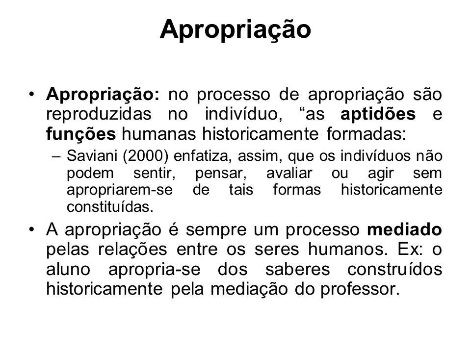 Apropriação: no processo de apropriação são reproduzidas no indivíduo, as aptidões e funções humanas historicamente formadas: –Saviani (2000) enfatiza