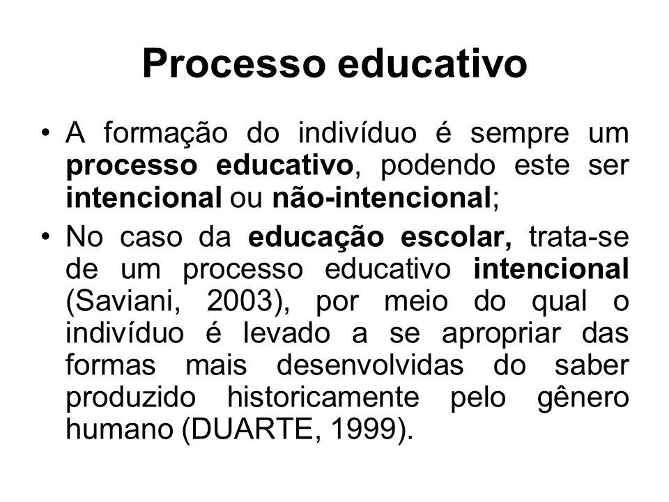 A formação do indivíduo é sempre um processo educativo, podendo este ser intencional ou não-intencional; No caso da educação escolar, trata-se de um p
