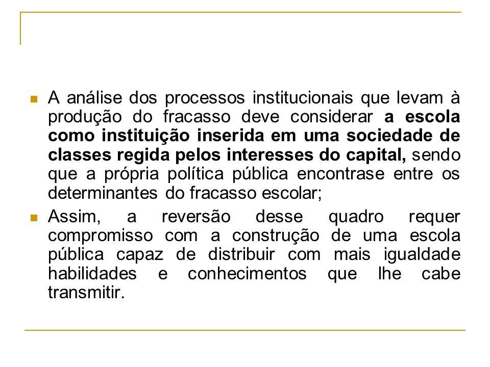A análise dos processos institucionais que levam à produção do fracasso deve considerar a escola como instituição inserida em uma sociedade de classes
