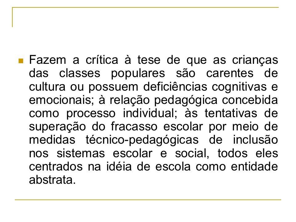 Fazem a crítica à tese de que as crianças das classes populares são carentes de cultura ou possuem deficiências cognitivas e emocionais; à relação ped