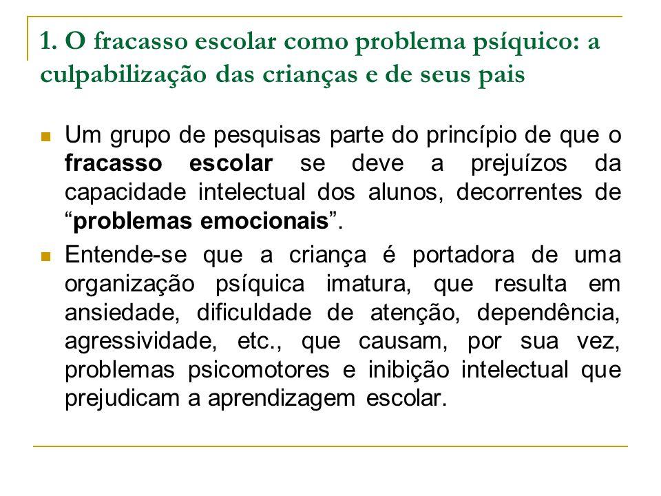 1. O fracasso escolar como problema psíquico: a culpabilização das crianças e de seus pais Um grupo de pesquisas parte do princípio de que o fracasso
