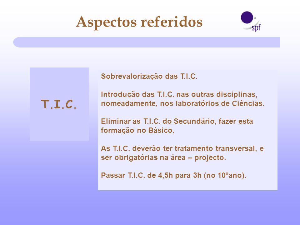 Sobrevalorização das T.I.C. Introdução das T.I.C. nas outras disciplinas, nomeadamente, nos laboratórios de Ciências. Eliminar as T.I.C. do Secundário