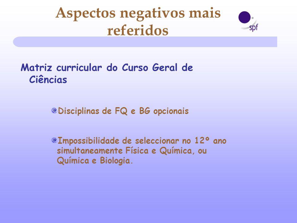 Matriz curricular do Curso Geral de Ciências Disciplinas de FQ e BG opcionais Impossibilidade de seleccionar no 12º ano simultaneamente Física e Quími