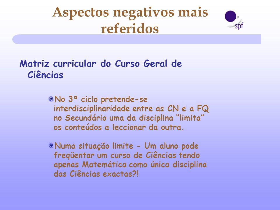 No 3º ciclo pretende-se interdisciplinaridade entre as CN e a FQ no Secundário uma da disciplina limita os conteúdos a leccionar da outra. Numa situaç