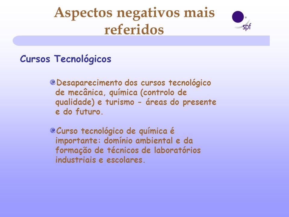 Cursos Tecnológicos Desaparecimento dos cursos tecnológico de mecânica, química (controlo de qualidade) e turismo - áreas do presente e do futuro. Cur